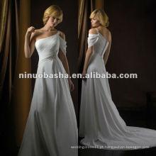 Noble bainha um ombro Tribunal Trem com frisado broche plissado zíper encerramento vestido de noiva vestido nupcial