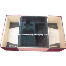 De alta calidad medio puerta forma vino y el vidrio conjunto de embalaje de papel de caja con flocado