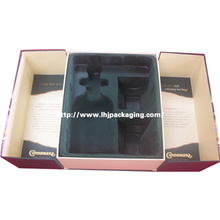 High Quality Middle Door Shape Wine and Glass Set Packaging Paper Box with Flocking