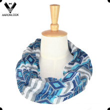 Atacado moda geométrica padrão pescoço poliéster cachecol