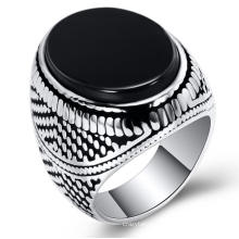 Stainless Steel Jewelry Gemstone Ring Jewelry Men Turquoise Black Stone Male Punk Rings