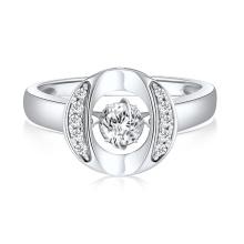 O forma 925 anillos de plata de joyería de baile de diamantes