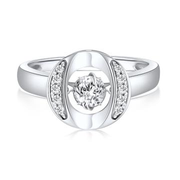 O Shaped 925 Silver Rings Jóias Dancing Diamond