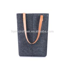 Saco de compras de feltro de carga forte com alça de couro