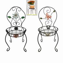 Decoración de jardín en forma de silla decorativa Linellae Metal Flowerpot Stand de artesanía