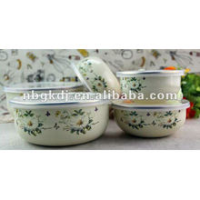 enamel kitchenware sets with PP lid