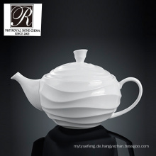 Hotel Ozean Linie Mode Eleganz weiß Porzellan Teetopf Kaffee Topf PT-T0538