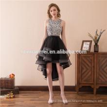 Vestido de novia de encaje con cola de milano de encaje corto vestido de noche corto frente corto con capucha manga larga vestido formal de noche