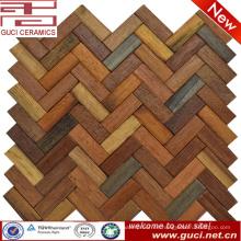 Producto de estilo personalizado mezclado mosaico de piso y pared de azulejo de madera sólida