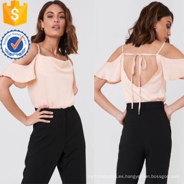 Open Back Pink Cold-hombro manga corta verano Top fabricación al por mayor de moda mujeres ropa (TA0085T)