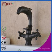 Fyeer Dual Cross Handle Dolphin Shape Bathroom Black Basin Tap