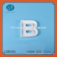 Design ceramic greek alphabet letter dish,BOO letter dish,New product unique design decoration customized white letter dish