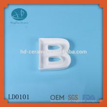 Design prato de carta de alfabeto grego de cerâmica, prato de carta de BOO, produto novo decoração de design original personalizou prato carta branca
