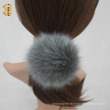 Mischfarben Echtes Fuchs Pelz Ball Elastisches Haarband