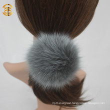Mixed Colors Genuine Fox Fur Ball Elastic Hair Band