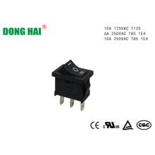 Bouton poussoir 10A 250VAC Interrupteur à bascule noir