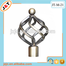 direct factory double curved shower telescopic curtain rod with decorative metal finials