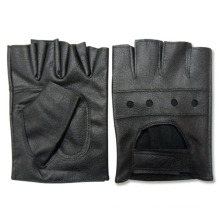 Men′s Fashion Black PU Leather Fingerless Driver Gloves (YKY5036)