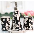 4 PC Of Ceramic Bath Set Leaf Pattern