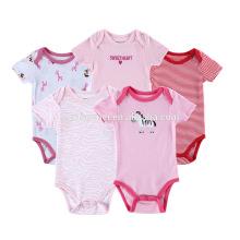 Mehrfarbiger Druck 5pcs 100% organische Baumwolle Neugeborene lmport Baby-Mädchen-Kleidung Strampler