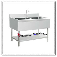 S312 1.2m Double Sinks Bench With Under Shelf