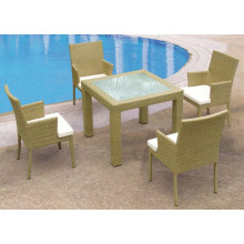 5 PCS Set Square Dining Set Rattan Table and Chairs Garden Furniture