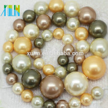 perla de concha de agua dulce natural 3-12mm Perla suelta cultivada de forma redonda de color mezclado en 40 cm de hilo
