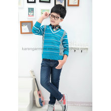 V-Neck Striped Ribbed Children Wool Sweater