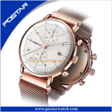 Wear-Resisting Quartz Watch with Genuine Leather Band