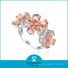 Charme prata maçônica anel flor em forma (sh-r0183)