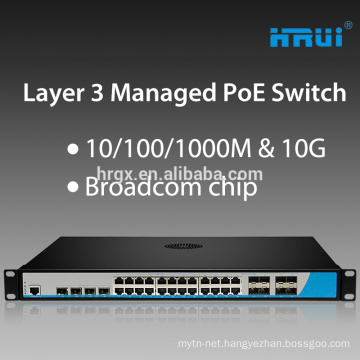 Chinese supplier Layer3 Managed 24 port Network Fiber Switch 24 RJ45 4 way 32 port Ethernet switch with poe hub