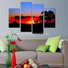 Sonnenuntergang-Wand-Kunst / Großhandelssegeltuch-Drucke vom kundenspezifischen Foto / gerahmten Segeltuch-Drucke