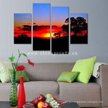 Arte da parede do por do sol / cópias da lona por atacado da foto feita sob encomenda / impressões emoldurados da lona