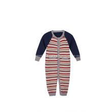 Macacão de bebê com botões em jacquard para meninos e meninas