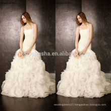New Model 2014 Ball Gown Wedding Dress Patterns Halter Long Tail Organza Bridal Gown With Criss-Cross Pleats Curly Skirt NB0758