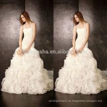 Modelo novo 2014 Vestido de noiva Vestido de noiva Halter vestido de noiva de organza longa com cruzada Pleats Saia encaracolada NB0758