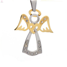 Initial silver gold pendants jewelry, stainless steel angel shape memory lockets