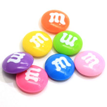 Pastel Mix Colors Chocolate 22MM Resin Candy M&M Flatback Cabochons For DIY Craft Making