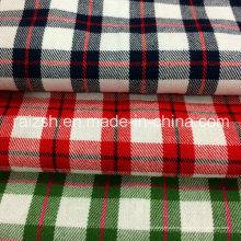 2016 Tejido de algodón hilado de tela escocesa Tejido cepillado con alta densidad