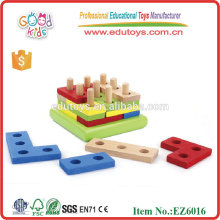 Kids Colorful IQ Puzzle Forme Activité Bois Wood Educational Toys Blocks