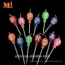 Voulait Usine 100% Entièrement Réparé Cire Paraffinée Colored Enfants Ballon Forme Bougies D'anniversaire
