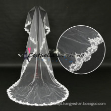 hot sale long ivory lace cathedral wedding veil with Beaded Embroidery