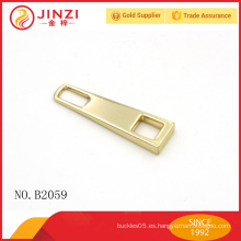Fábrica al por mayor en blanco sin logotipo aleación de zinc barato personalizada cremallera tira