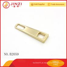 Fábrica em branco por atacado sem logotipo zinco liga barato zipper personalizado puxa