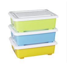 Contenedor rectangular de plástico para caja de almacenamiento con ruedas
