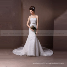 Graceful sweet heartfish style many applique lace wedding dress beading on the waist belt