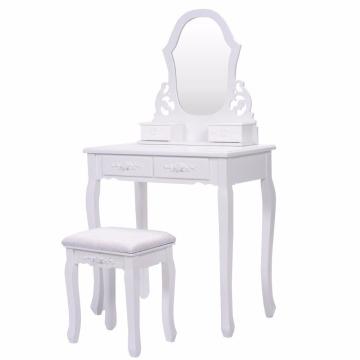 Bathroom Vanity Wood Makeup4 Drawers Dressing Table Stool Set Sector Mirror