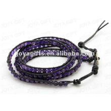 Bracelets à enveloppe d'amitié avec des perles rondes améthystiques de 4 mm