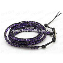Friendship wrap Bracelets with Amethyst 4mm round beads