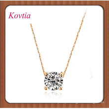fashion glowing single crystal four prong necklace